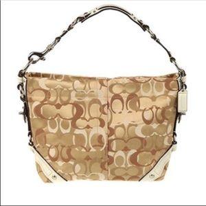 Coach Optic Carly Monogram tan canvas shoulder bag